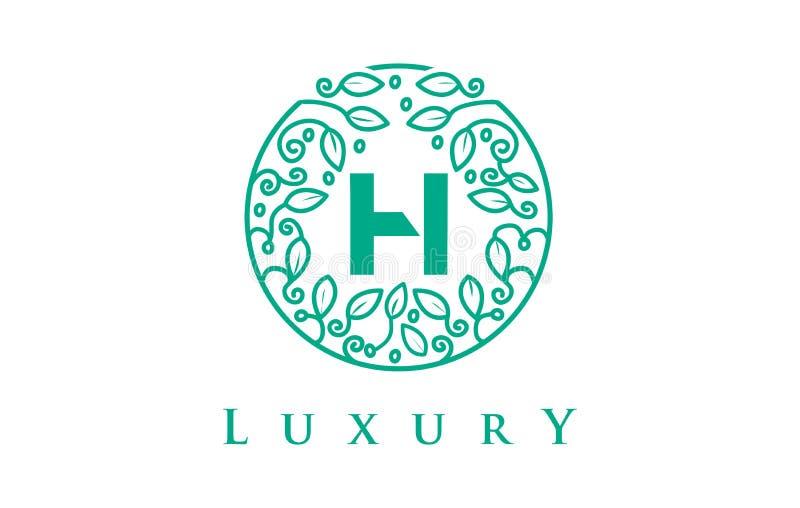 Letra Logo Luxury de H Logotipo dos cosméticos da beleza ilustração royalty free