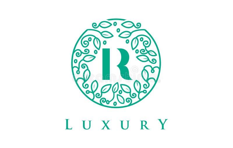 Letra Logo Luxury de R Logotipo dos cosméticos da beleza ilustração stock