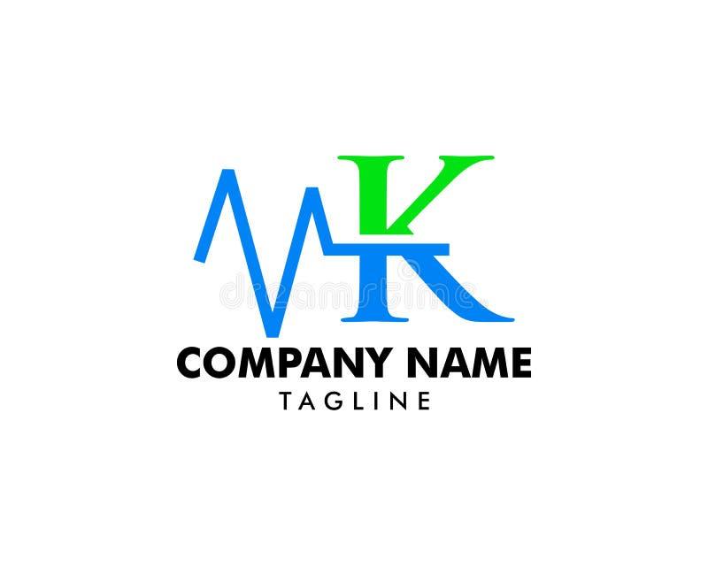 Letra Logo Template Design Vector del pulso de la salud de K stock de ilustración