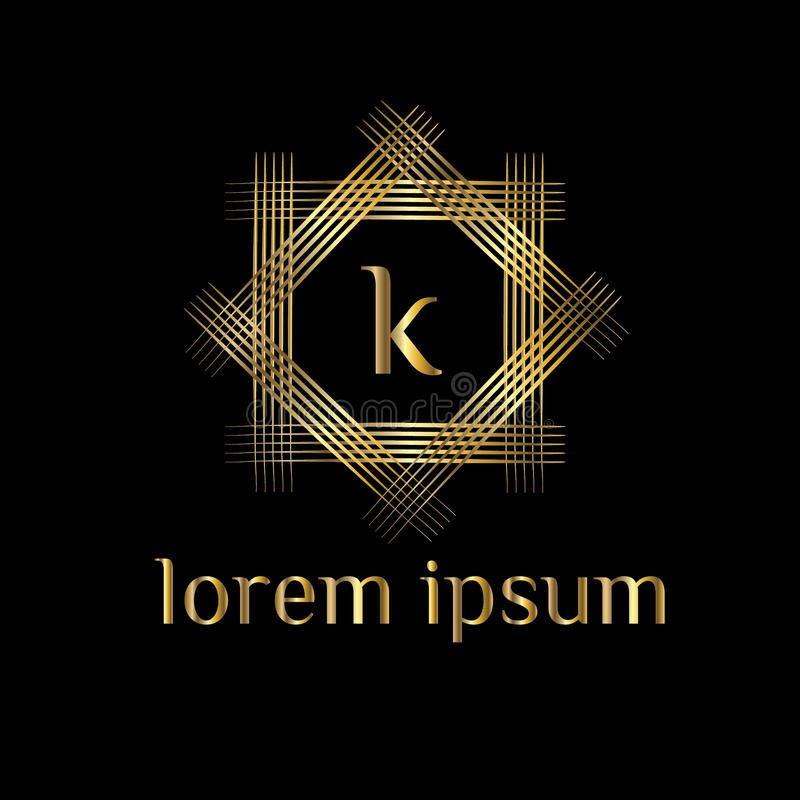 Letra luxuosa K do logotipo Vector o sinal do molde do logotipo, símbolo, ícone, quadro do luxo do vetor ilustração royalty free