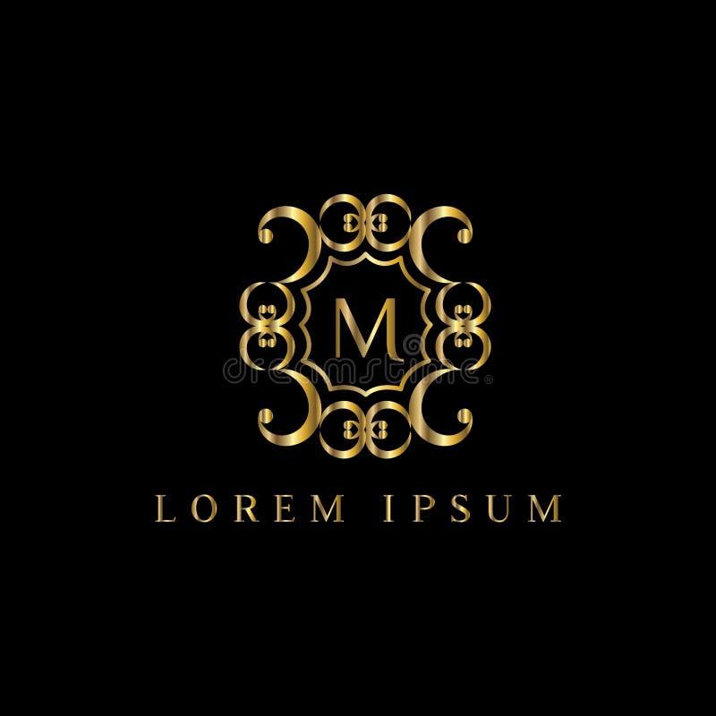 Letra luxuosa M Logo Vector o sinal do molde do logotipo, símbolo, ícone, quadro do luxo do vetor ilustração royalty free