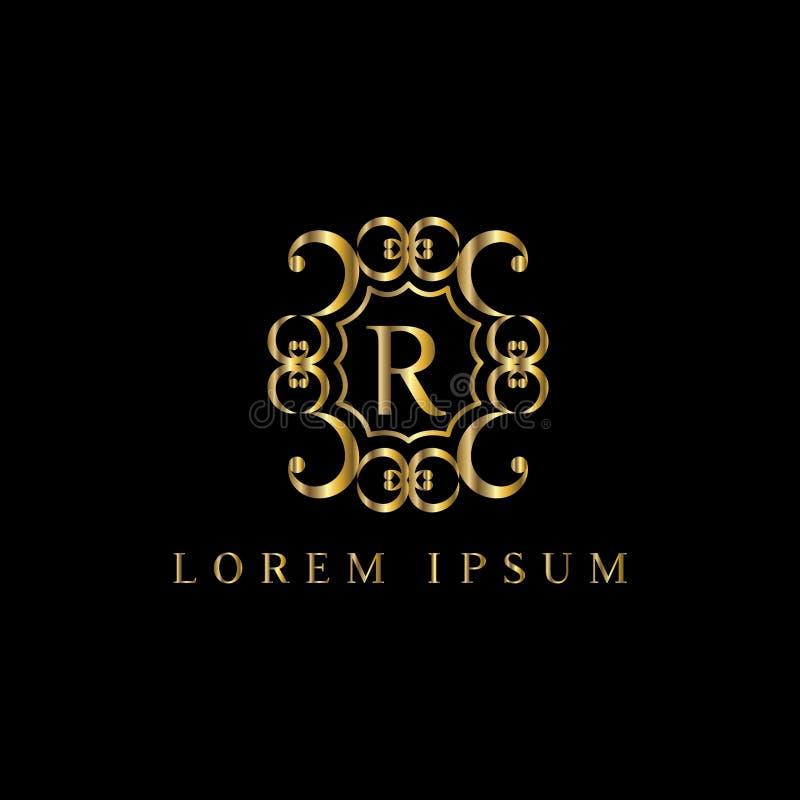 Letra luxuosa R do logotipo Vector o sinal do molde do logotipo, símbolo, ícone, quadro do luxo do vetor ilustração stock