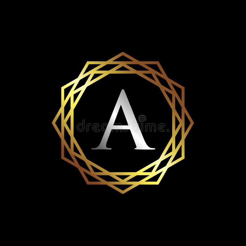 Letra luxuosa um molde do logotipo ilustração do vetor