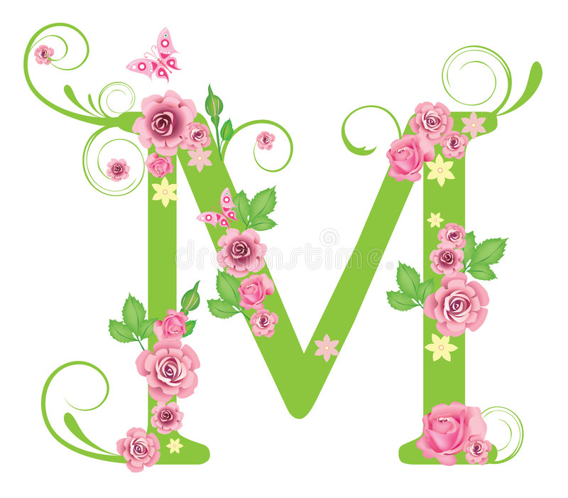 Letra M com rosas ilustração do vetor