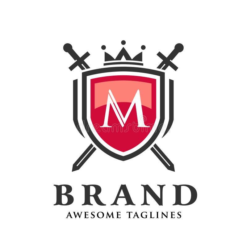 Letra m con dos espadas cruzadas, escudo con el logotipo de la corona ilustración del vector