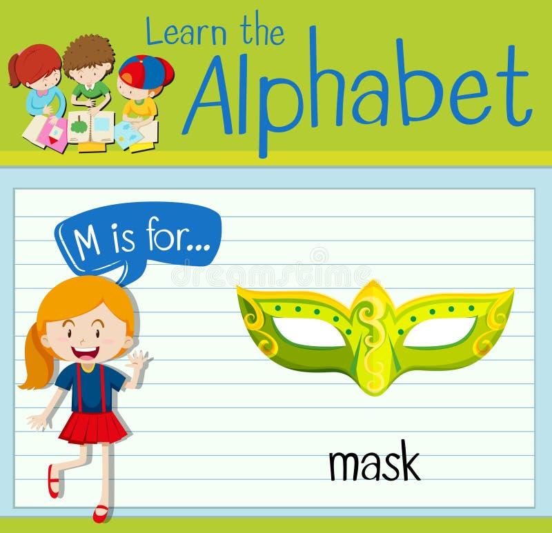 A letra M de Flashcard é para a máscara ilustração do vetor