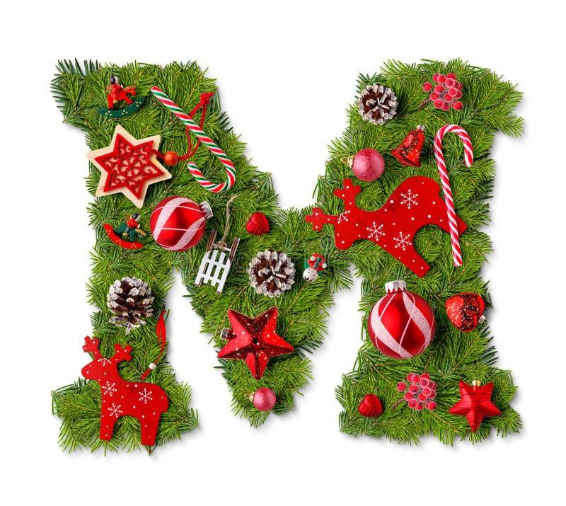 Letra M del alfabeto de la Navidad foto de archivo