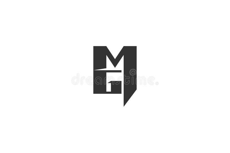 Letra M G Logo Designs Inspiration Isolated no fundo branco ilustração royalty free