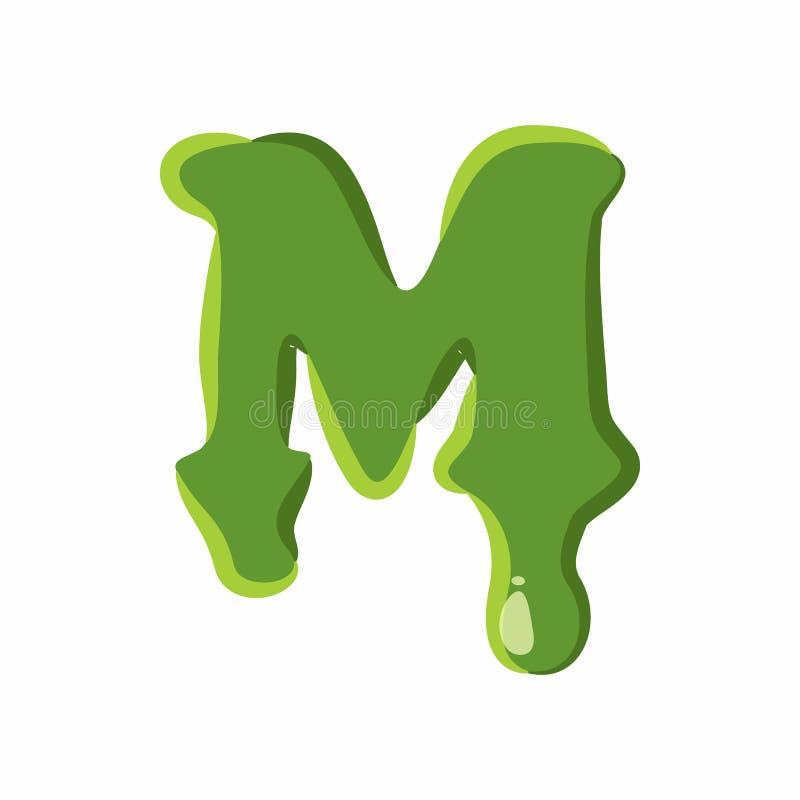 Letra M hecha del limo verde stock de ilustración