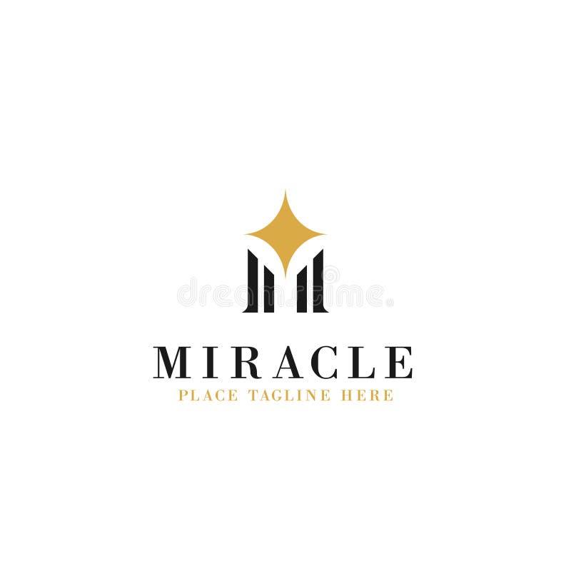 Letra m inicial com ilustração da estrela da faísca para o projeto do vetor do molde do logotipo do conceito do milagre ilustração royalty free