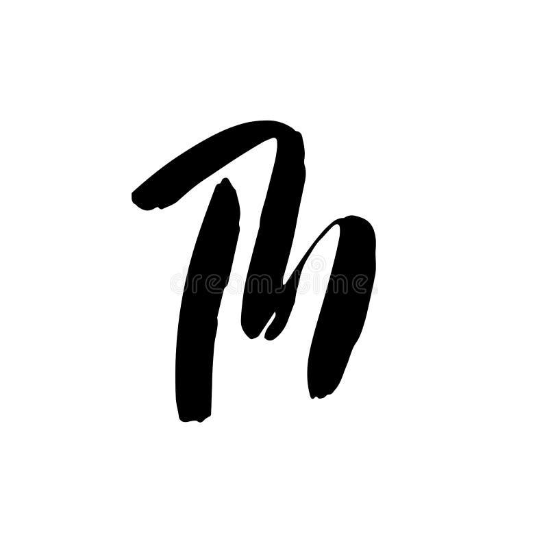 Letra M Manuscrito por el cepillo seco Fuente de movimientos áspera Ilustración del vector Alfabeto del estilo del Grunge stock de ilustración