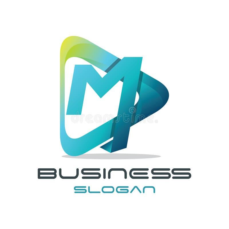 Letra M Media Logo stock de ilustración