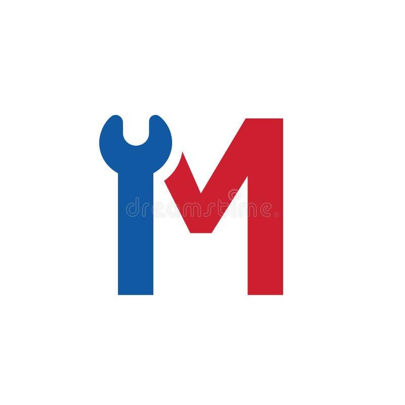 Letra M Wrench Logo Icon Design Template Elements Ilustra??o do vetor ilustração do vetor