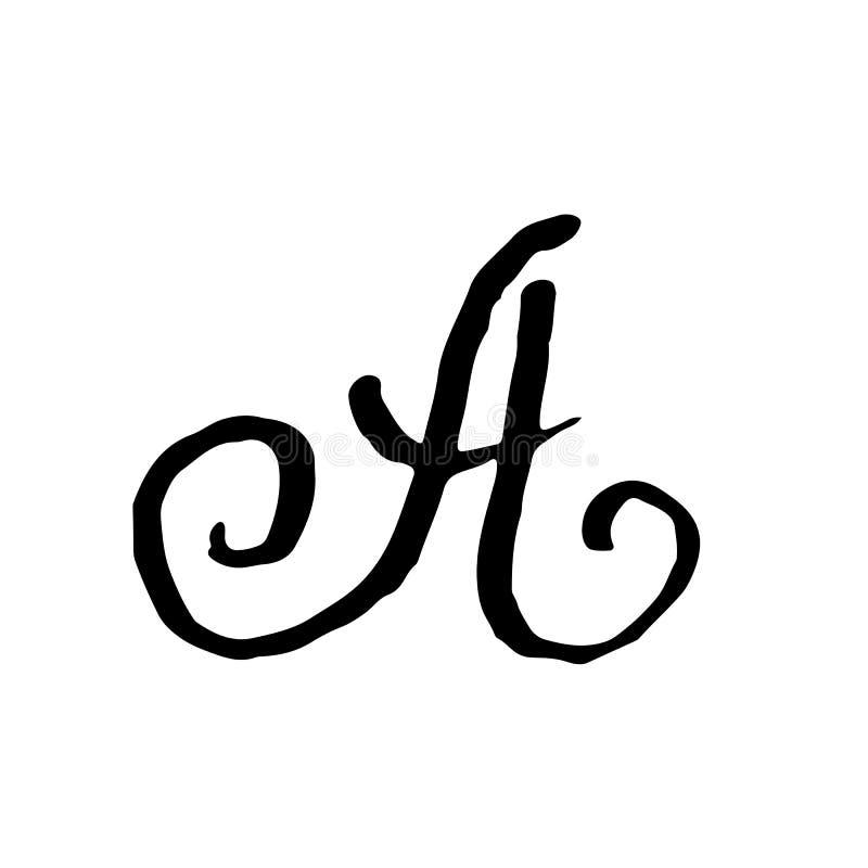 Letra A Manuscrito por el cepillo seco Los movimientos ásperos texturizaron la fuente Ilustración del vector Alfabeto del estilo  libre illustration