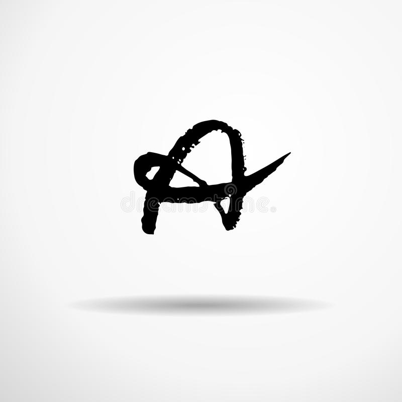 Letra A Manuscrito por el cepillo seco Los movimientos ásperos texturizaron la fuente Ilustración del vector Alfabeto del estilo  stock de ilustración