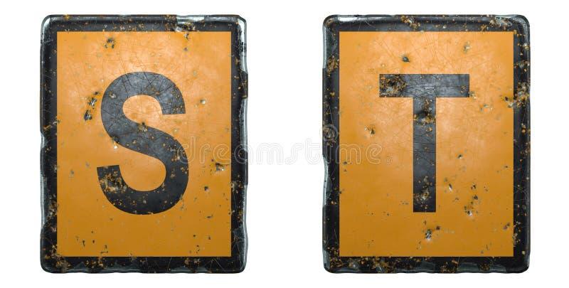 Letra mayúscula set S, T hecha con signo de carretera pública naranja y color negro sobre fondo blanco 3d fotos de archivo