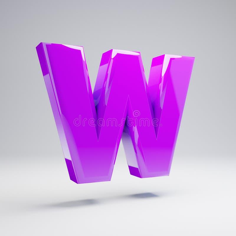 Letra mayúscula W de la violeta brillante volumétrica aislada en el fondo blanco ilustración del vector