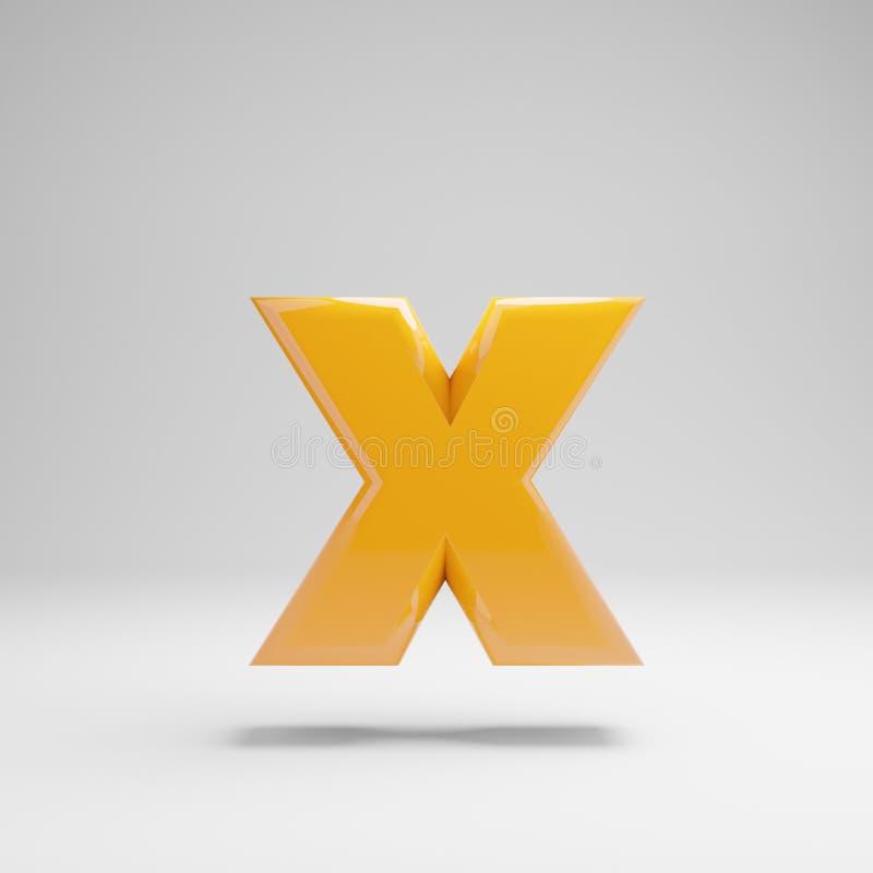 Letra minúscula amarela lustrosa X isolado no fundo branco ilustração royalty free