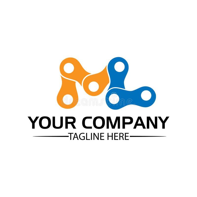 Letra ML, Logo Letter ML e corrente logotipo formado pela corrente ilustração royalty free