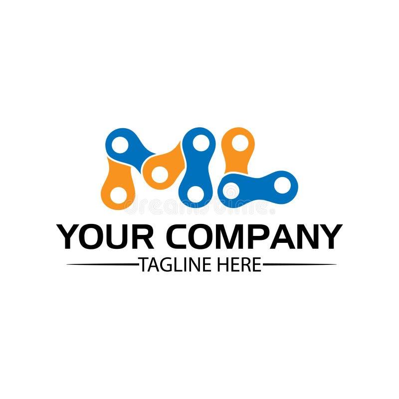 Letra ML, Logo Letter ML e corrente logotipo formado pela corrente ilustração do vetor