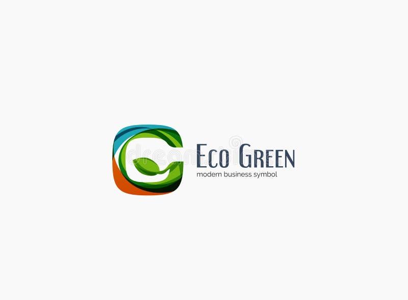 Letra moderna de G, logotipo verde da empresa do conceito do eco ilustração royalty free