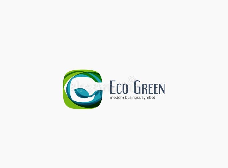 Letra moderna de G, logotipo verde de la compañía del concepto del eco libre illustration