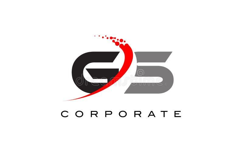 Letra moderna Logo Design del GS con Swoosh stock de ilustración