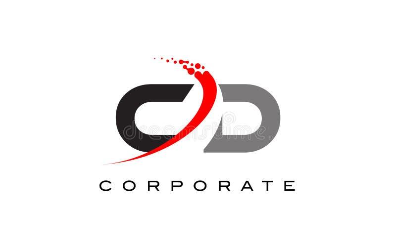 Letra moderna Logo Design do CD com Swoosh ilustração stock