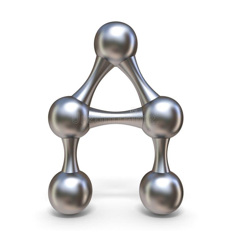 Letra molecular de aço A 3D da fonte ilustração do vetor