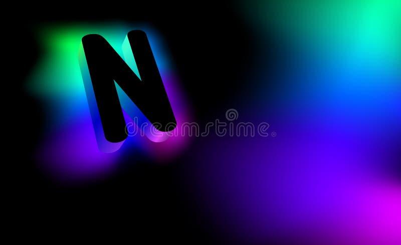 Letra N abstrata Estilo incorporado do logotipo criativo do teste padrão 3D do fulgor da empresa ou da marca N Sumário da letra p ilustração royalty free
