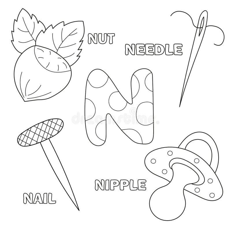 Letra N Alfabeto inglês Instrução para crianças Livro de coloração ilustração do vetor