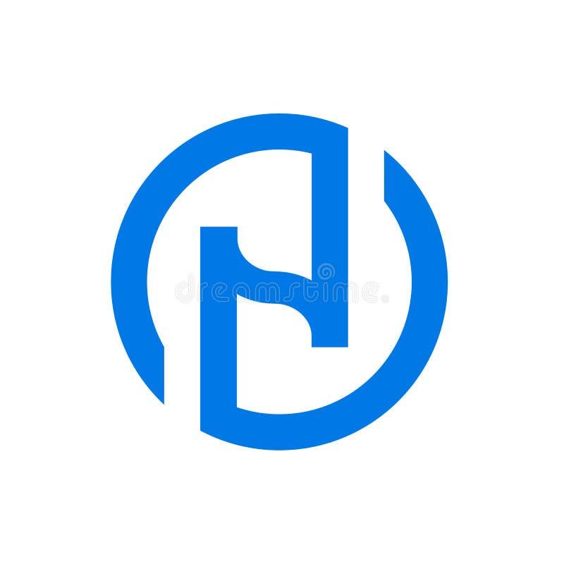 Letra N com logotipo do círculo, projeto inicial do ícone do alfabeto N, ilustração do vetor ilustração stock