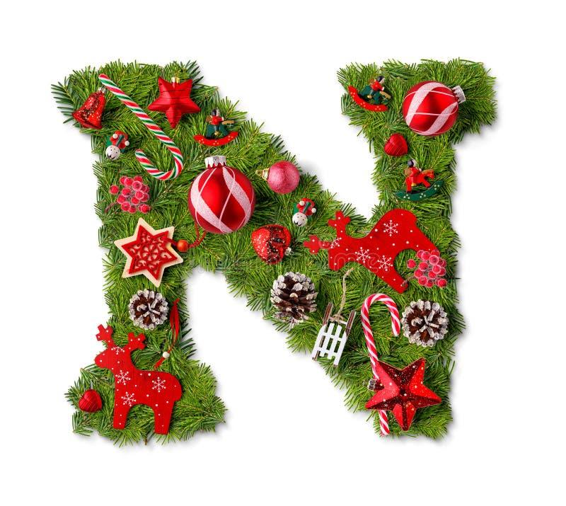 Letra N del alfabeto de la Navidad imagenes de archivo