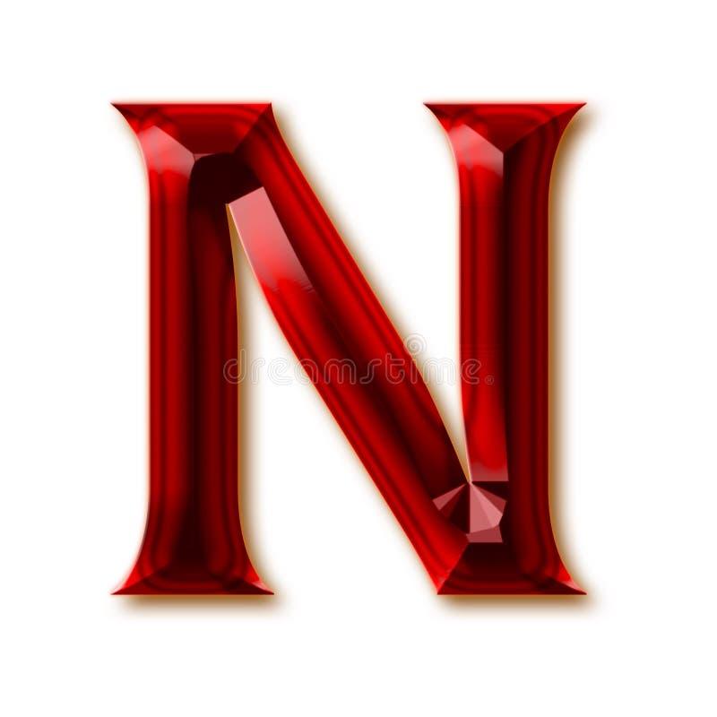Letra N del alfabeto de rubíes tallado elegante ilustración del vector