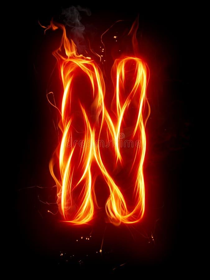 Letra N del fuego stock de ilustración