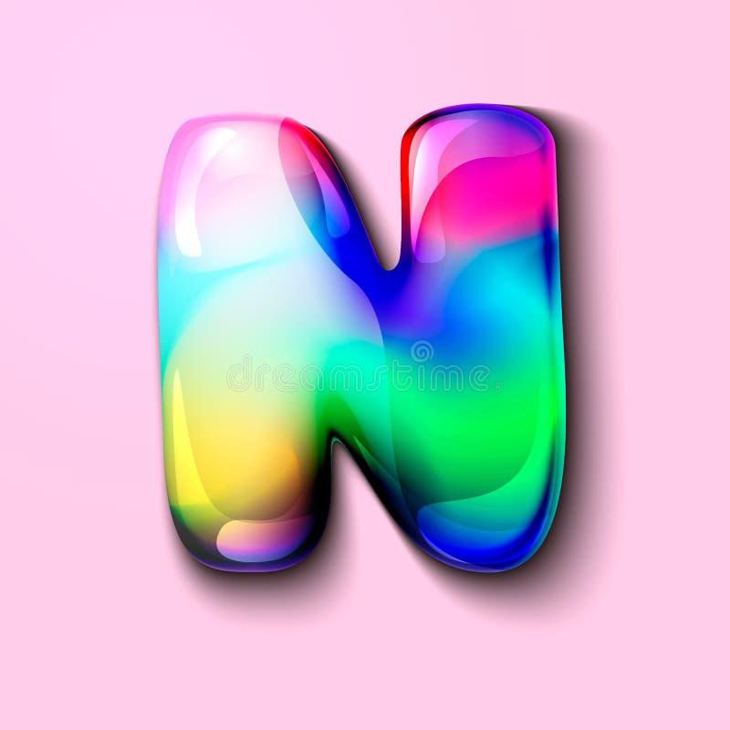 Letra N holográfica moderna r r o Um medidor da tensão de C ilustração do vetor