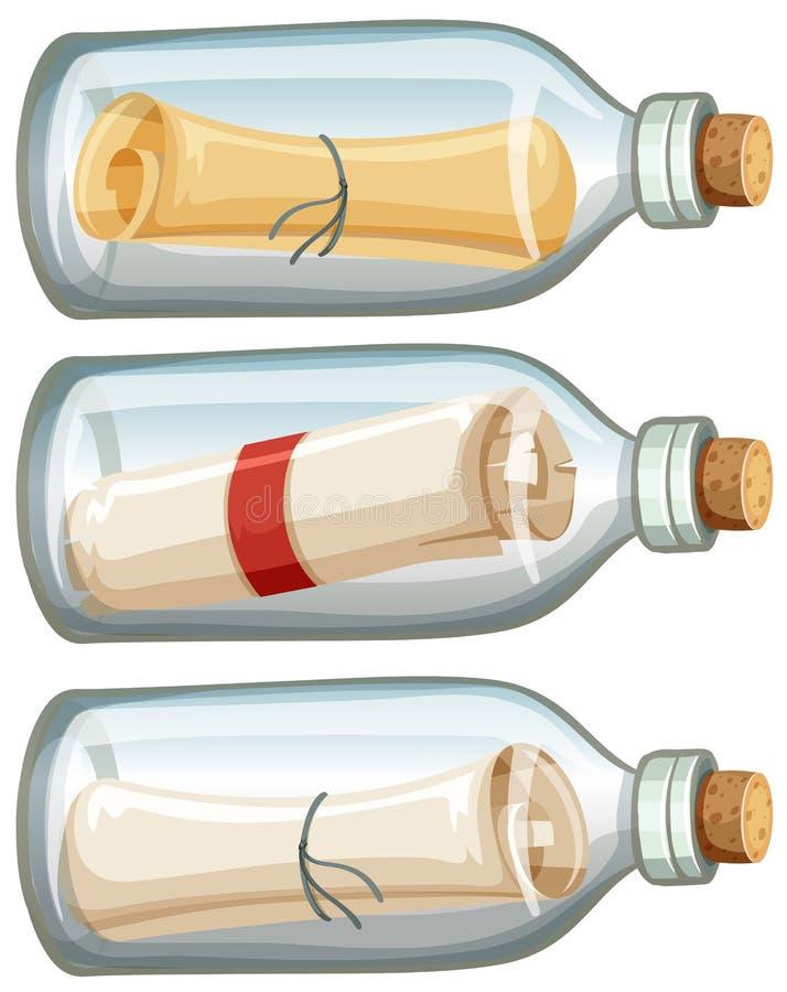 Letra na garrafa no fundo branco ilustração do vetor