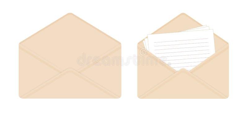 Letra no envelope bege aberto, folhas de papel vazias, envelope vazio ilustração stock