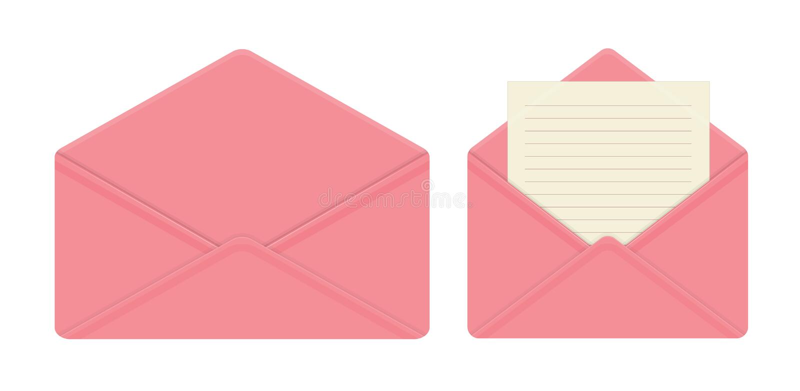 Letra no envelope cor-de-rosa aberto, folhas de papel vazias, envelope vazio ilustração stock