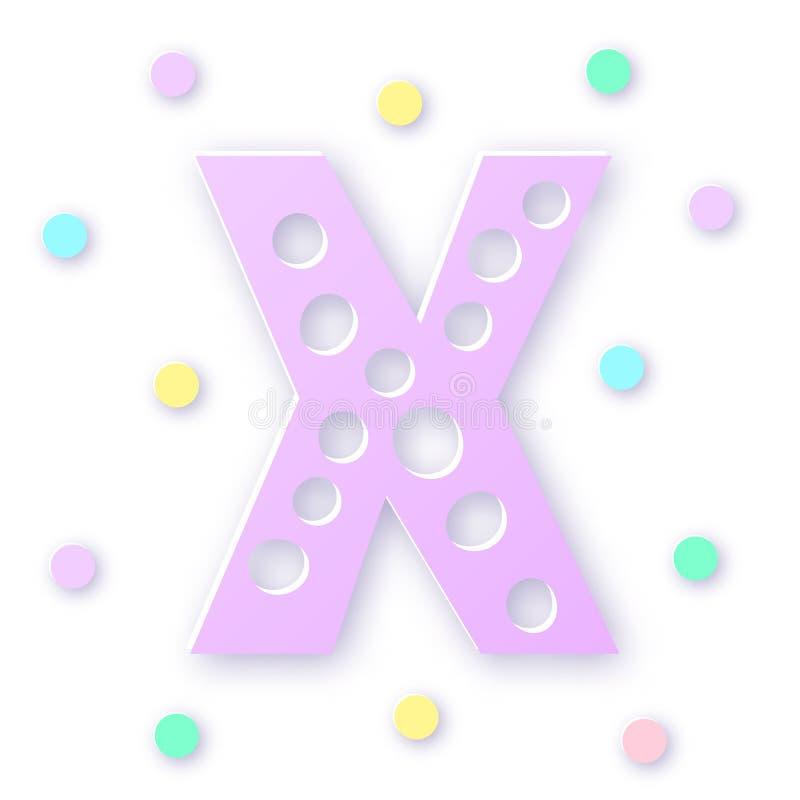 Letra X no estilo recortado em papel em fundo branco Design tipográfico Letra violeta de capital negrito ilustração stock