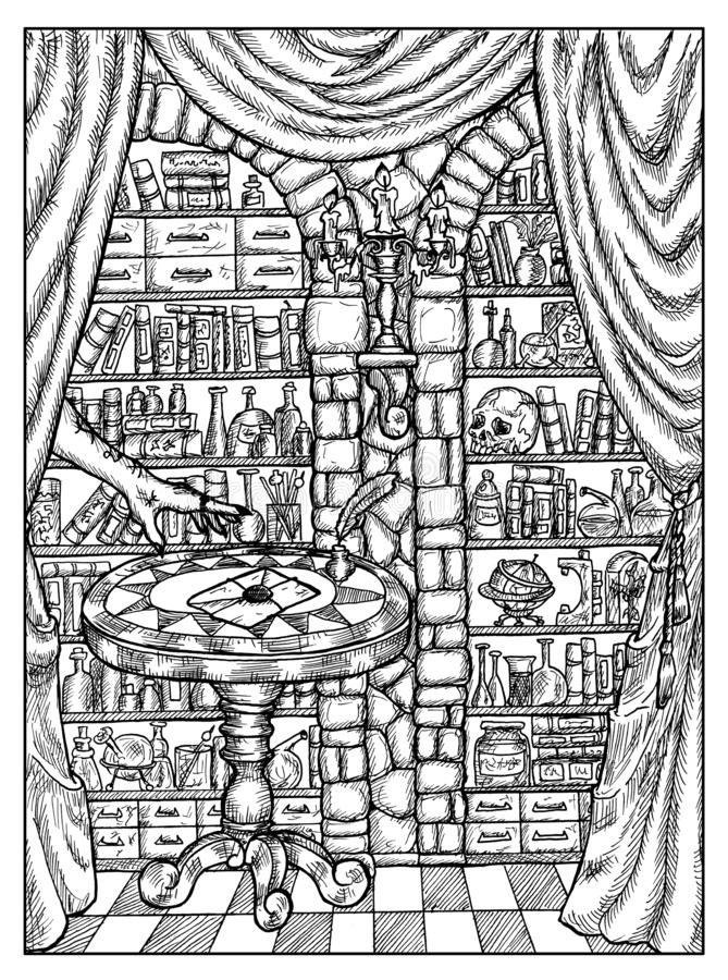 Letra no laboratório da alquimia Conceito místico preto e branco para o cartão de tarô do oráculo de Lenormand ilustração do vetor