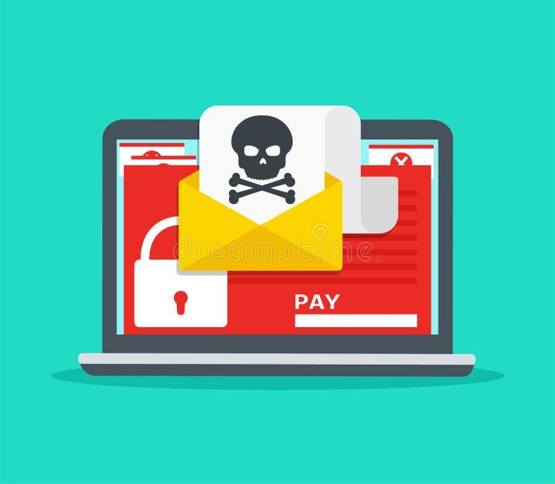 Letra no portátil com malware Ataque do cabouqueiro ilustração royalty free
