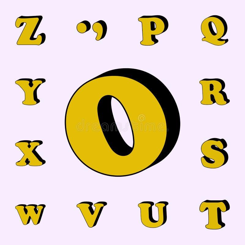 letra O, alfabeto, icono 3D sistema universal de los iconos de las palabras 3D para la web y el móvil stock de ilustración