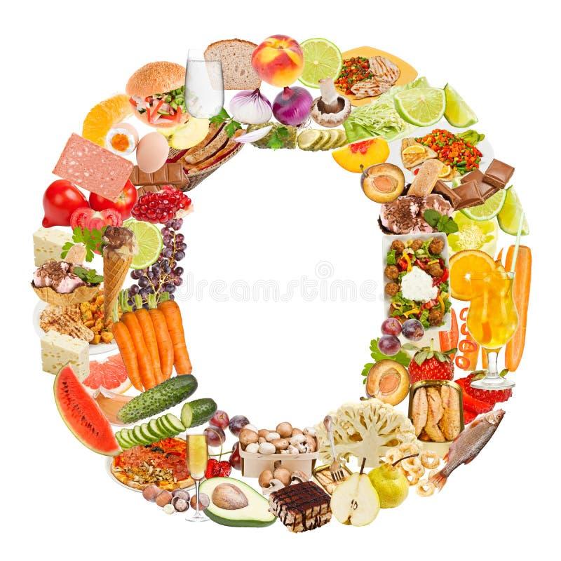 Letra O hecha de la comida imagen de archivo