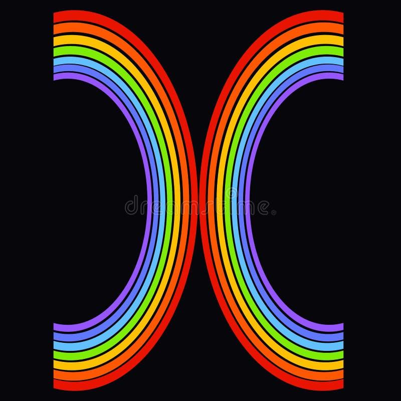 Letra ou sinal de dois arcos coloridos, arco-íris em um fundo preto ilustração do vetor