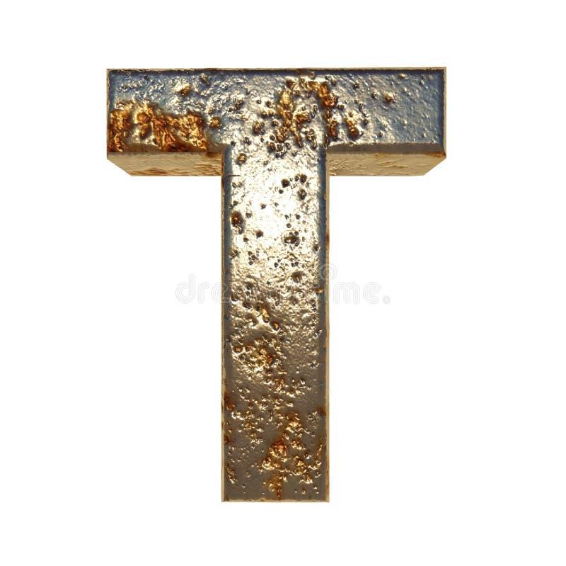 Letra oxidada T do metal ilustração do vetor