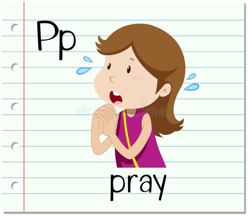 A letra P de Flashcard está para reza ilustração royalty free