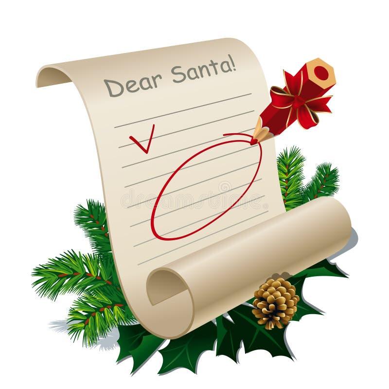 Letra a Papai Noel ilustração stock