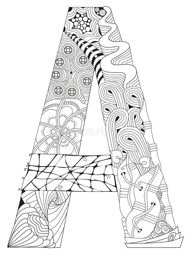 Letra A Para Colorear Objeto Decorativo Del Zentangle Del Vector ...