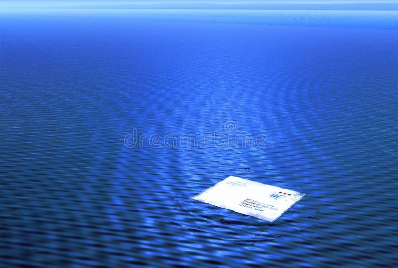 Letra perdida no mar ilustração royalty free